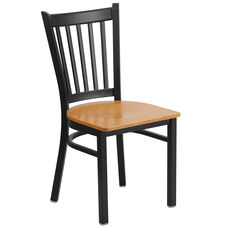 Black Vertical Back Metal Restaurant Chair with Natural Wood Seat