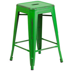 """Commercial Grade 24"""" High Backless Distressed Green Metal Indoor-Outdoor Counter Height Stool"""