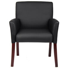 Mid Back Box Arm Guest Chair - Black Caressoft™ with Mahogany Legs