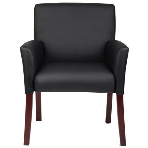 Our Mid Back Box Arm Guest Chair - Black Caressoft™ with Mahogany Legs is on sale now.