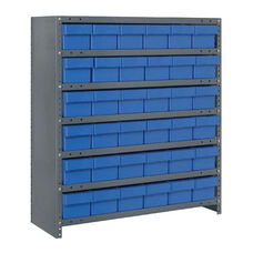 7 Shelf Closed Unit with 36 Bins - Blue