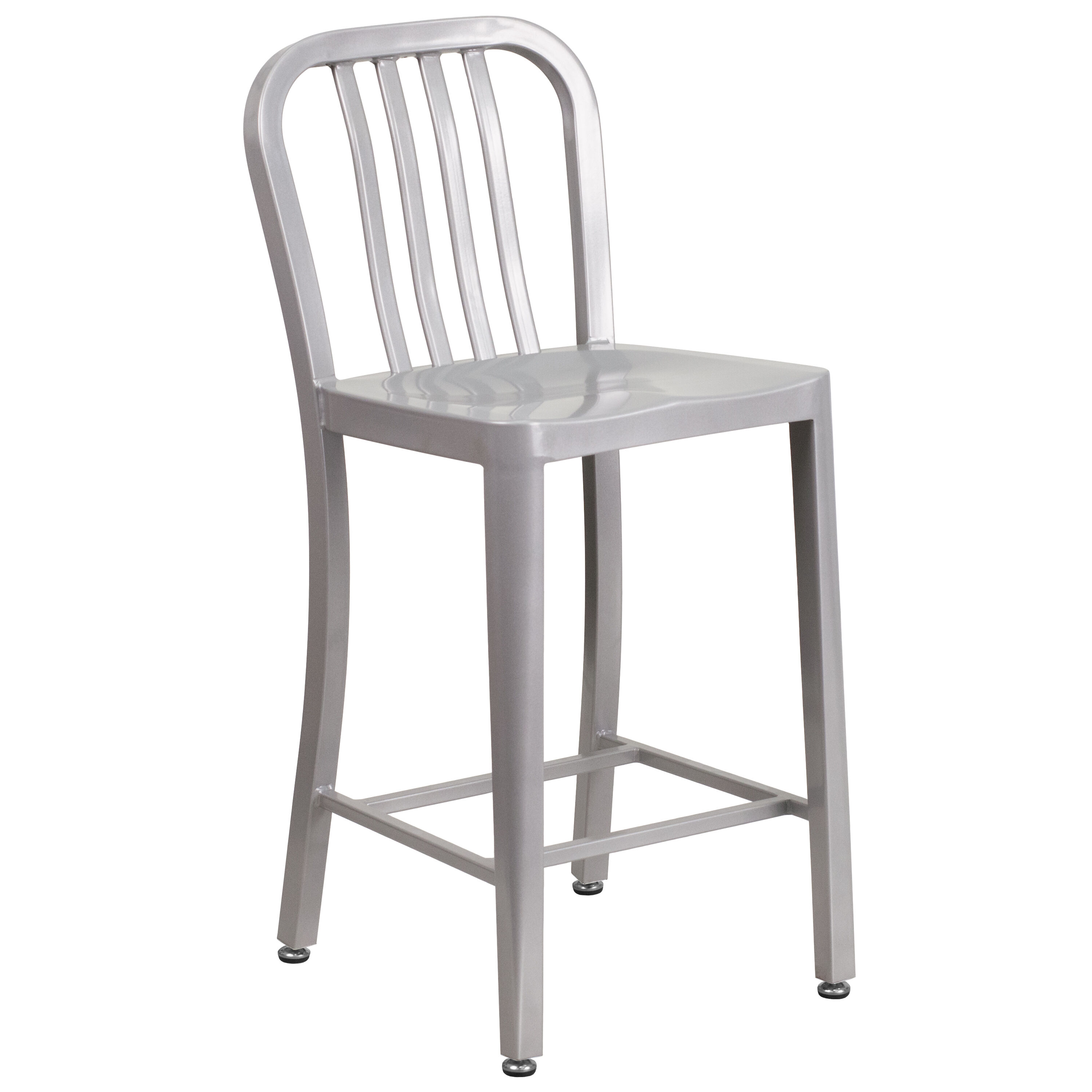 24 Silver Metal Outdoor Stool Ch 61200 24 Sil Gg