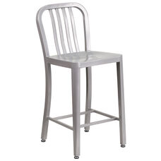 "24"" High Silver Metal Indoor-Outdoor Counter Height Stool with Vertical Slat Back"
