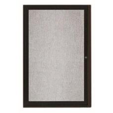 1 Door Outdoor Illuminated Enclosed Bulletin Board with Black Powder Coated Aluminum Frame - 24