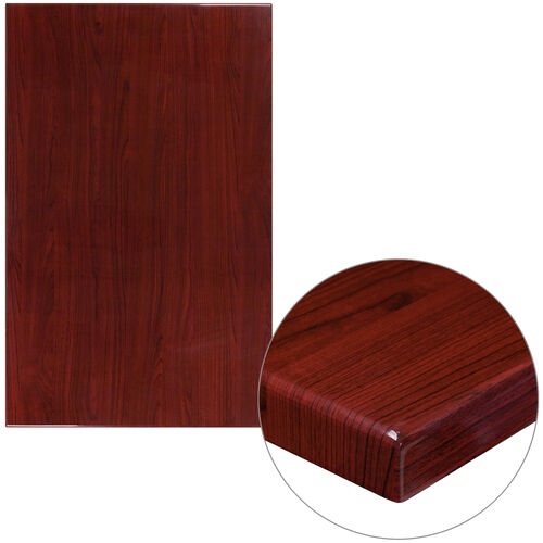 "Our 30"" x 48"" Rectangular High-Gloss Mahogany Resin Table Top with 2"" Thick Edge is on sale now."