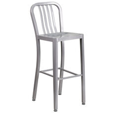 "Commercial Grade 30"" High Silver Metal Indoor-Outdoor Barstool with Vertical Slat Back"