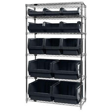 Wire Shelving Unit with 13 Magnum Bins - Black