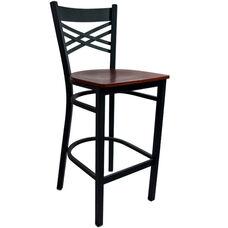 Advantage Cross Back Metal Bar Stool - Mahogany Wood Seat