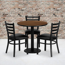 30'' Round Walnut Laminate Table Set with Ladder Back Metal Chair and Black Vinyl Seat, Seats 3