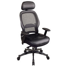 Space Professional Breathable Mesh Back and Leather Seat Managers Chair with Headrest