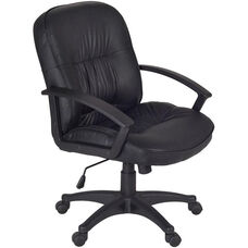 Stratus Height Adjustable Swivel Chair with Casters - Black Vinyl
