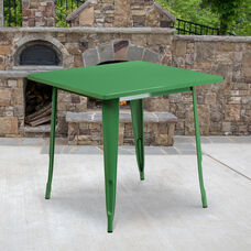 "Commercial Grade 31.5"" Square Green Metal Indoor-Outdoor Table"