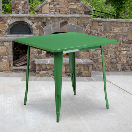 "Our Commercial Grade 31.5"" Square Green Metal Indoor-Outdoor Table is on sale now."