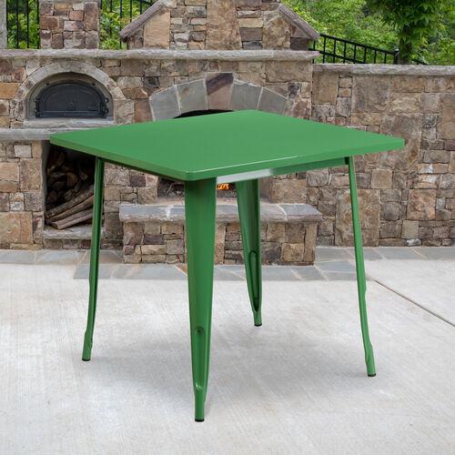 "Commercial Grade 31.5"" Square Green Metal Indoor-Outdoor Table"
