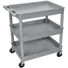 Heavy Duty Multi-Purpose Large Mobile Tub Utility Cart with 3 Tub Shelves - Gray - 32