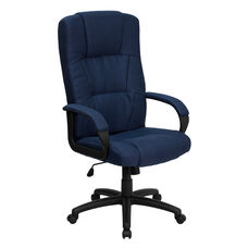 High Back Navy Blue Fabric Executive Swivel Office Chair with Arms