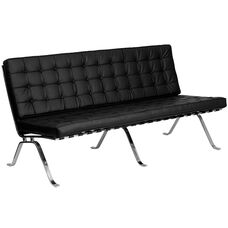 HERCULES Flash Series Black Leather Sofa with Curved Legs