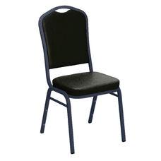 Embroidered E-Z Sierra Black Vinyl Upholstered Crown Back Banquet Chair - Silver Vein Frame