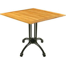 Square Teak Outdoor Table with Black Base
