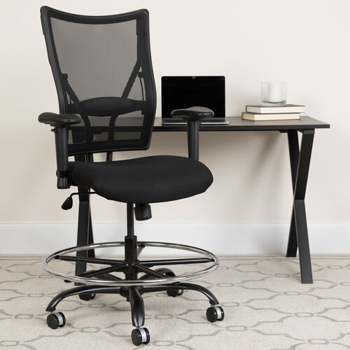 Our HERCULES Series Big & Tall 400 lb. Rated Black Mesh Ergonomic Drafting Chair with Adjustable Arms is on sale now.