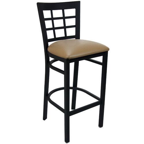 Advantage Black Metal Cross Back Chair - Beige Padded