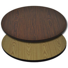 "Advantage 30"" Round Restaurant Table Top - Oak / Walnut Reversible"