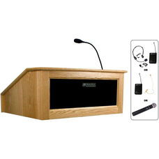 Solid Hardwood Victoria Wireless 150 Watt Sound and Hand Held Mic Tabletop Lectern - Oak Finish - 27
