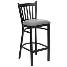 Black Vertical Back Metal Restaurant Barstool with Custom Upholstered Seat