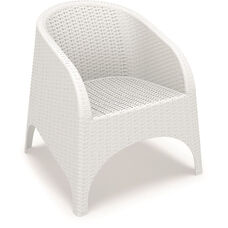 Aruba Wickerlook Resin Club Arm Chair - White