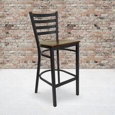 HERCULES Series Black Ladder Back Metal Restaurant Barstool - Mahogany Wood Seat