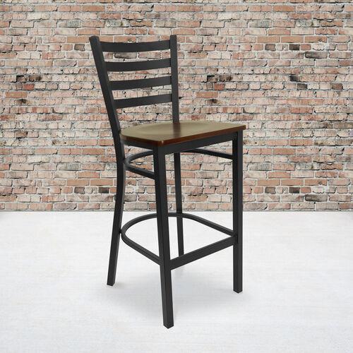 Our HERCULES Series Black Ladder Back Metal Restaurant Barstool - Mahogany Wood Seat is on sale now.