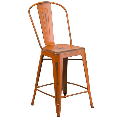 "Our Commercial Grade 24"" High Distressed Orange Metal Indoor-Outdoor Counter Height Stool with Back is on sale now."