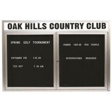 2 Door Indoor Enclosed Directory Board with Header and Aluminum Frame - 48