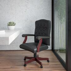 Martha Washington Black Leather Executive Swivel Office Chair with Arms