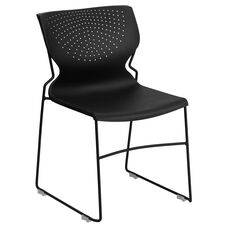 HERCULES Series 661 lb. Capacity Black Full Back Stack Chair with Black Powder Coated Frame