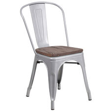 Silver Metal Stackable Chair with Wood Seat