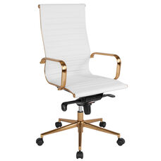 High Back White Ribbed Leather Executive Swivel Chair with Gold Frame, Knee-Tilt Control and Arms