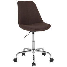 Aurora Series Mid-Back Brown Fabric Task Chair with Pneumatic Lift and Chrome Base