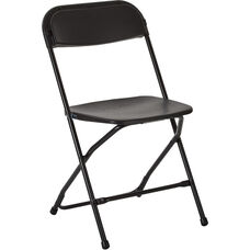 Work Smart Plastic Folding Chair - Set of 4 - Black