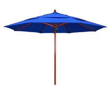 11 Ft. Fiberglass Market Umbrella with Pulley Lift and Double Wind Vent - Red Oak Wood Look Finish