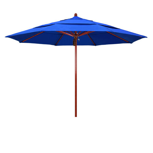 Our 11 Ft. Fiberglass Market Umbrella with Pulley Lift and Double Wind Vent - Red Oak Wood Look Finish is on sale now.