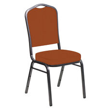 Embroidered E-Z Wallaby Terra Cotta Vinyl Upholstered Crown Back Banquet Chair - Silver Vein Frame