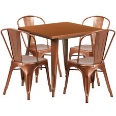 "Commercial Grade 31.5"" Square Copper Metal Indoor-Outdoor Table Set with 4 Stack Chairs"