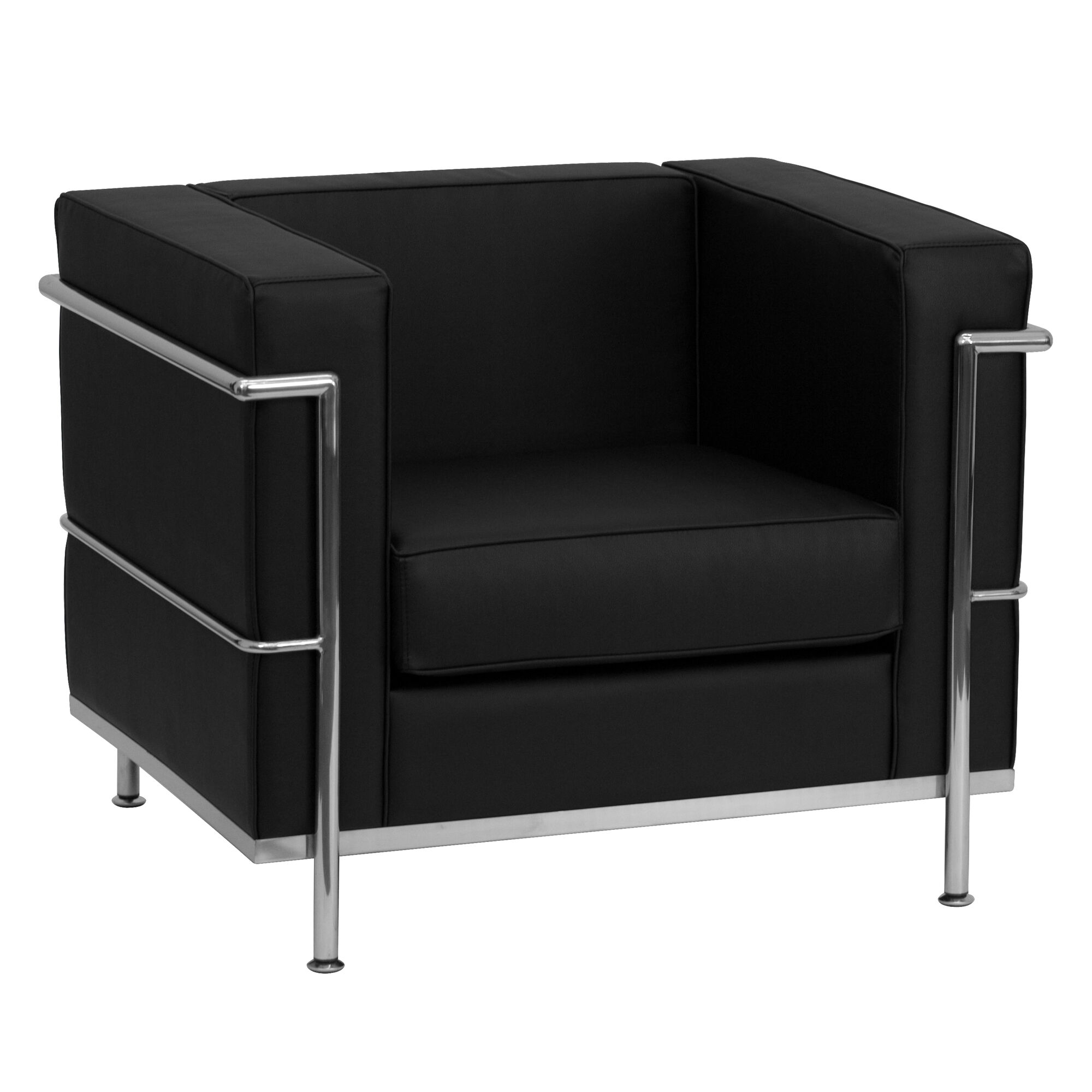 Flash furniture hercules regal series contemporary black for Contemporary black leather chairs