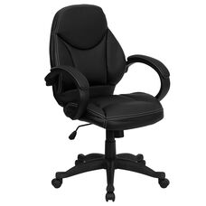 Mid-Back Black Leather Contemporary Executive Swivel Chair with Arms