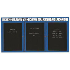 3 Door Indoor Enclosed Directory Board with Header and Blue Anodized Aluminum Frame - 48