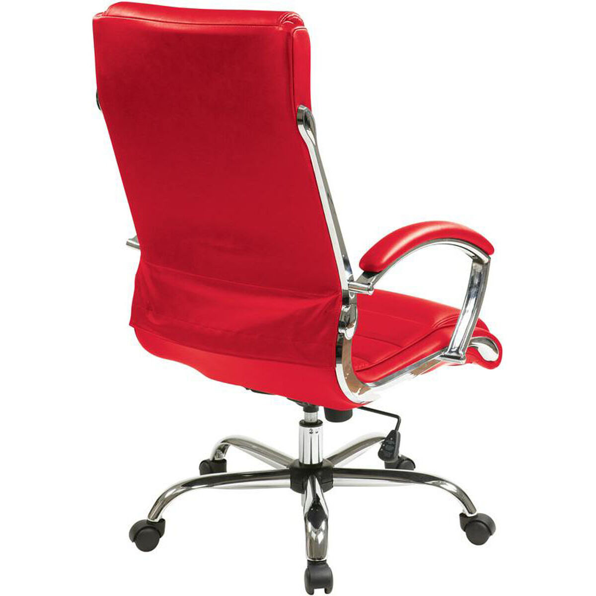 Our Work Smart Faux Leather Executive Office Chair With Thick Padded Seat Red Is On