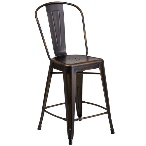 """Our Commercial Grade 24"""" High Distressed Copper Metal Indoor-Outdoor Counter Height Stool with Back is on sale now."""