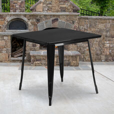 "Commercial Grade 31.5"" Square Black Metal Indoor-Outdoor Table"