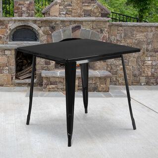 "Commercial Grade 31.5"" Square Black Metal Indoor-Outdoor Table"